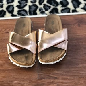 Asos rose gold slides